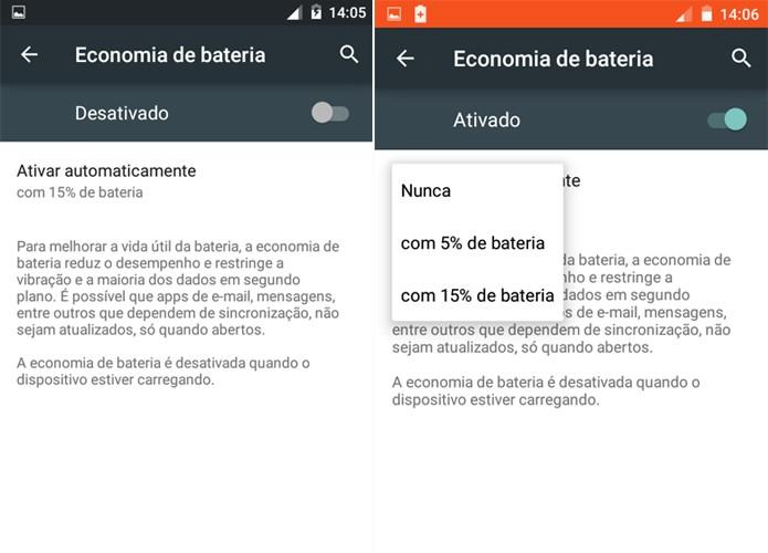 O Moto E 2015 permite configurar o modo economia de bateria (Foto: Reprodução/Carol Danelli)