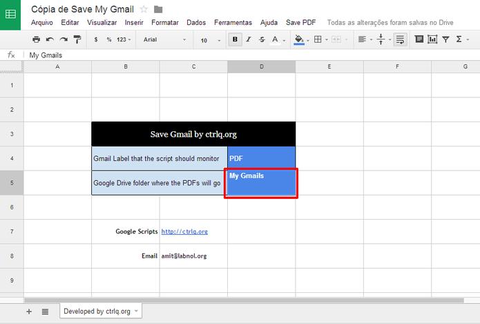 Usuário poderá alterar o nome da pasta em que emails serão salvos no Google Drive (Foto: Reprodução/Elson de Souza)