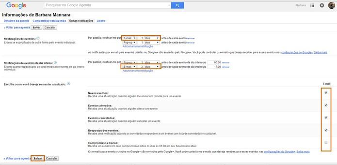 Ative notificações no seu e-mail do Gmail pelo Google Agenda (Foto: Reprodução/Barbara Mannara)