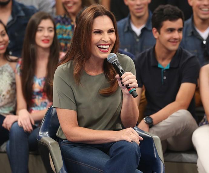 Laura Muller participa da gravação do programa 'Altas Horas' (Foto: Carol Caminha/Gshow)