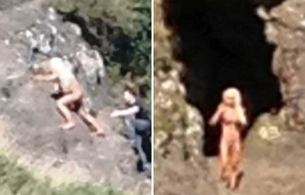 Mulher foi flagrada por visitantes de parque durante ensaio pornográfico na Irlanda (Foto: Reprodução/Belfast Telegraph)