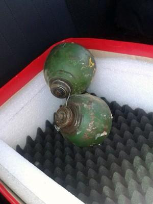 Parecer técnico ainda indicará se granadas contêm material explosito em Natal, RN (Foto: Divulgação Bope)