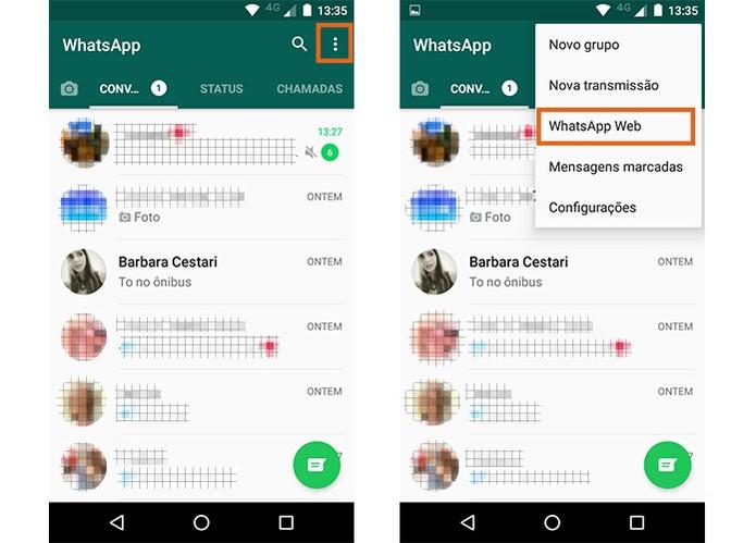 No celular principal abra o app do WhatsApp (Foto: Reprodução/Barbara Mannara)