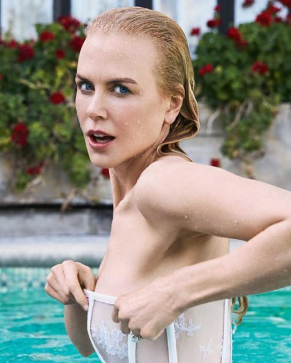Nicole Kidman impressiona por boa forma aos 50 em ensaio picante na piscina (Foto:  )