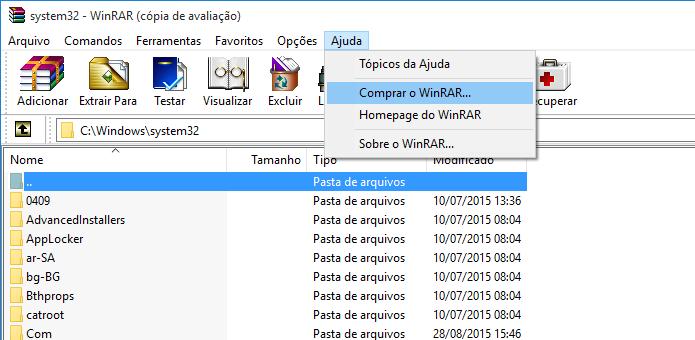 Adquirindo licença do WinRAR (Foto: Reprodução/Helito Bijora)
