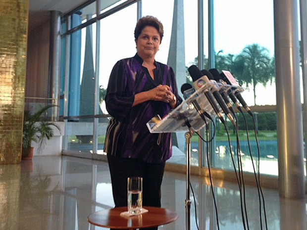 Dilma concede entrevista coletiva no Palácio do Alvorada (Foto: Filipe Matoso / G1)
