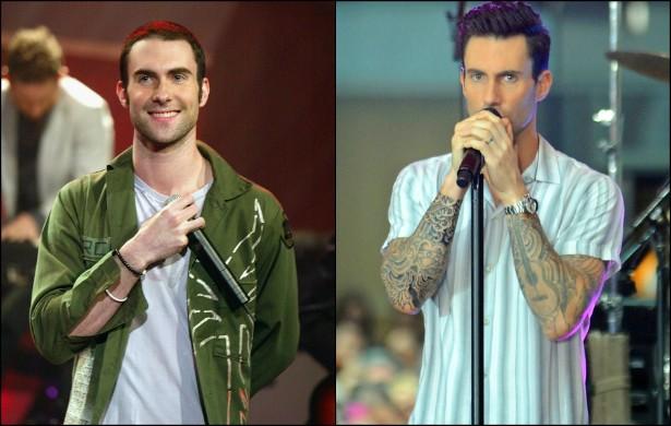Adam Levine sempre foi charmoso — vide a foto à esquerda, de março de 2004, a poucos dias de ele completar 25 anos de vida. No entanto, uma década depois, o líder do Maroon 5 ficou ainda mais interessante, graças à musculação e às tatuagens, que deram um tempero no corpo do vocalista. (Foto: Getty Images)