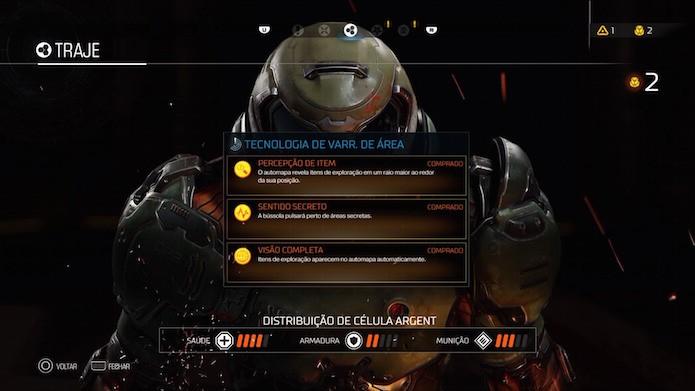Doom: aprimore atributos passivos na aba Traje do menu (Foto: Reprodução/Victor Teixeira)