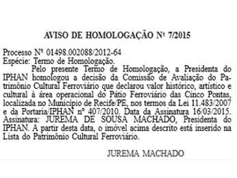 Decisão foi homologada no Diário Oficial desta terça (17) (Foto: Reprodução / Diário Oficial da União)