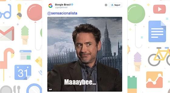 Perfil oficial do Google Brasil no Twitter respondeu ao Sensacionalista com um meme (Foto: reprodução/Twitter)