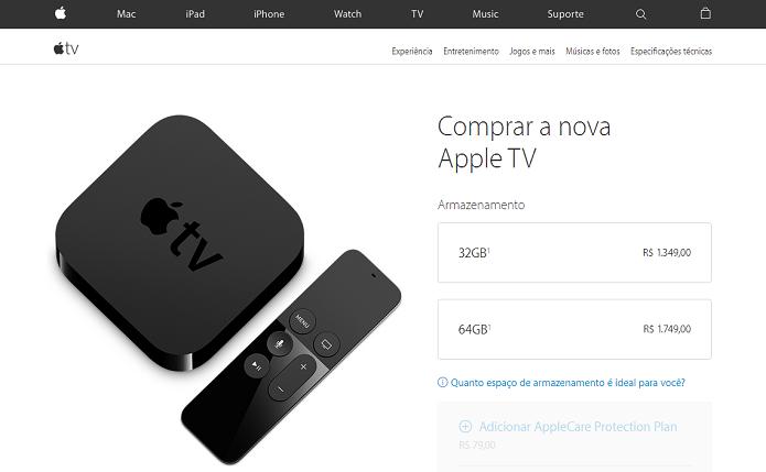 Apple TV começa a ser vendida na Borasil por preços assustadores (Foto:Reprodução/Apple Online Store)