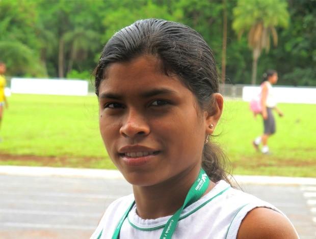 Domingas Oliveira indígena salto em distância Olimpíadas Escolares (Foto: Ana Carolina Fontes)