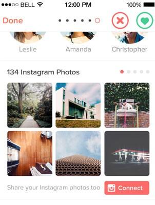 App de relacionamento Tinder passa a mostrar fotos do Instagram. (Foto: Divulgação/Tinder)