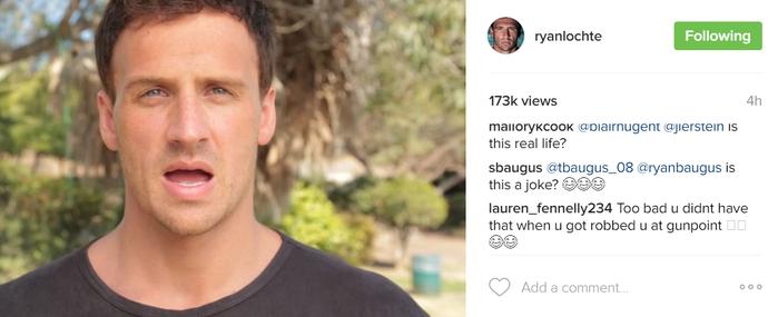 Ryan Lochte post alarme (Foto: Reprodução / Instagram)