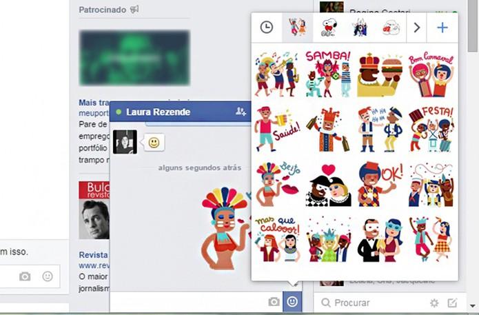 Os stickers de carnaval podem ser baixados na Loja de Figurinhas do Facebook (Foto: Reprodução/Barbara Mannara)