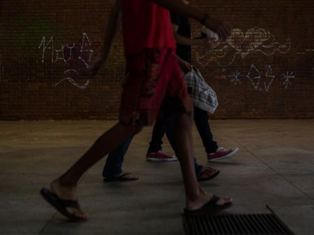 Ocupação na Escola Estadual Caetano de Campos, na Aclimação (Foto: Victor Moriyama/G1)