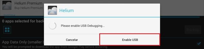 """Escolha a opção """"Enable USB"""" para que o Android permita que o Helium seja operado no computador (Foto: Reprodução/ Lucas Torres)"""