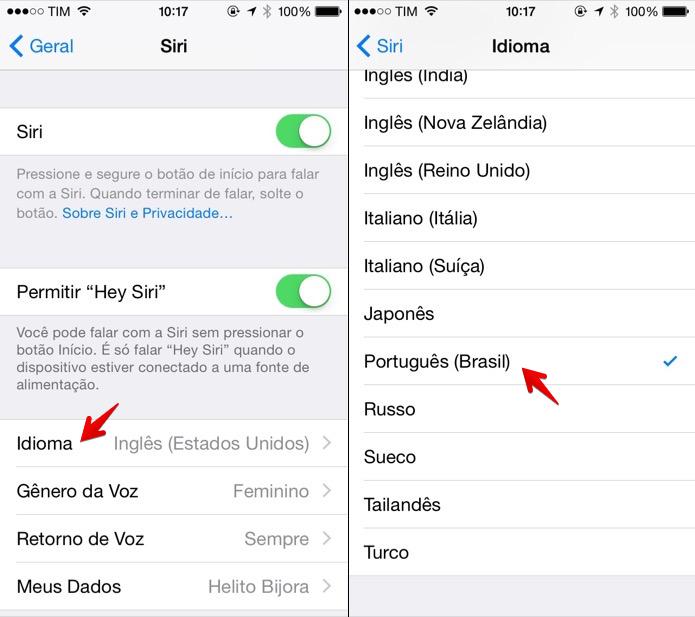 Colocando a Siri em português (Foto: Reprodução/Helito Bijora)