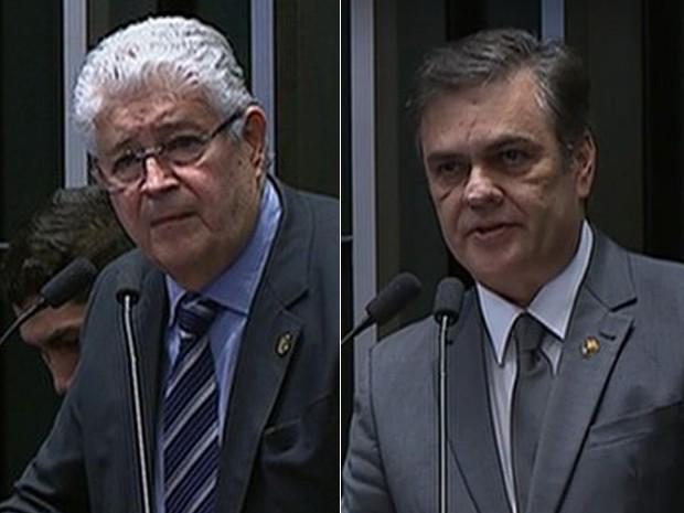 Montagem com fotos dos senadores Roberto Requião (PMDB-PR) e Cássio Cunha Lima (PSDB-PB) (Foto: Reprodução / Senado)