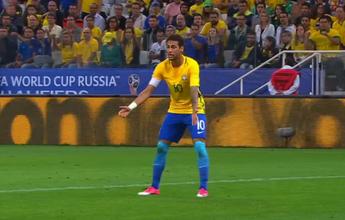 Em lance de primeiro gol do Brasil, Neymar pedia a bola com insistência