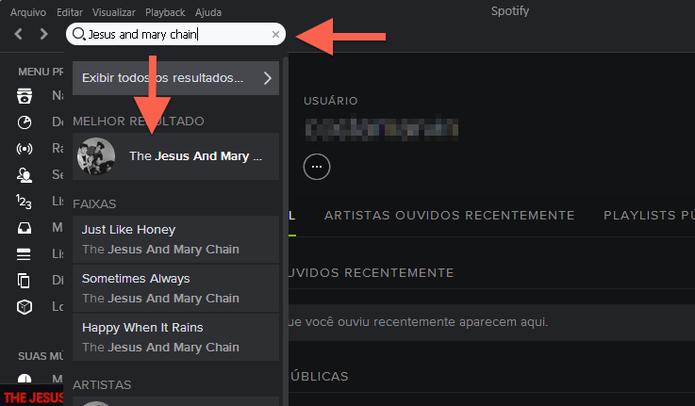 Iniciando uma pesquisa de artista no Spotify (Foto: Reprodução/Marvin Costa)