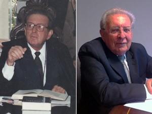 O ex-ministro do Supremo Ilmar Galvão em foto de 1993, durante interrogatório de Collor em 1993 (esq) e em entrevista concedida ao G1 em seu escritório 20 anos após o impeachment (dir) (Foto: Montagem Arquivo Fotográfico do Senado Federal / G1)