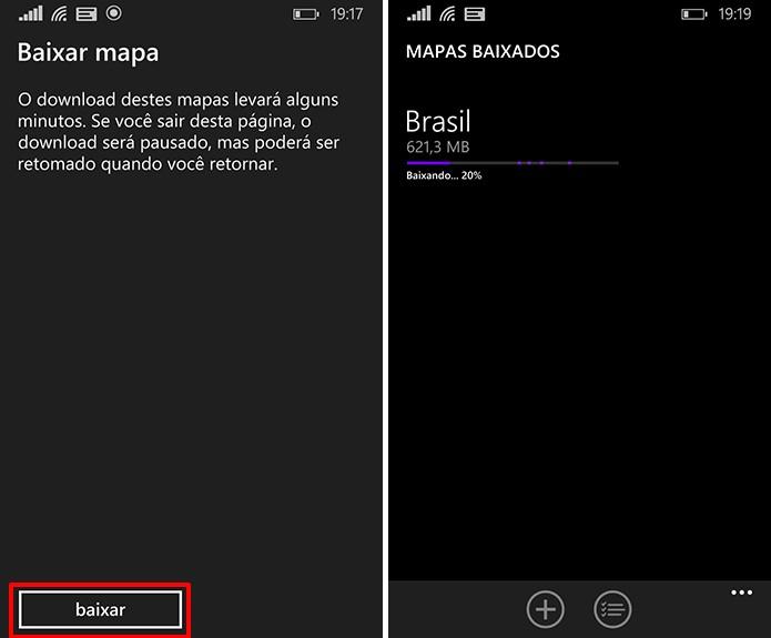Here Maps exibe aviso antes de baixar mapas para que usuário navegue sem conexão com a Internet (Foto: Reprodução/Elson de Souza)