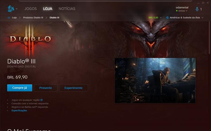 Página de Diablo 3 dentro da Battle.net (Foto: Reprodução/André Mello)