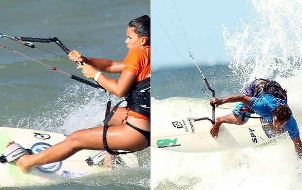 Atletas praticam kite wave com e sem as alças na prancha (Foto: Divulgação)