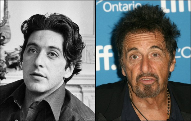 Al Pacino: de galã ítalo-americano dos anos 70 a um setentão detonado. O ator tinha 33 anos na foto da esquerda. Hoje está com 74. (Foto: Getty Images)