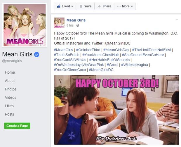 Perfil oficial do filme confirma musical de 'Meninas Malvadas' (Foto: Reprodução/Facebook)