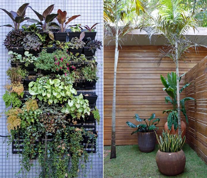 ideias jardins grandes:Jardim suspenso e plantas na área externas da casa do É de casa