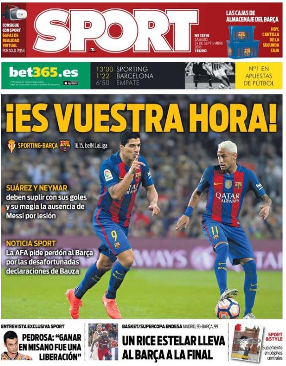 BLOG: Sem Messi em campo, Neymar e Suárez ganham destaque na imprensa catalã
