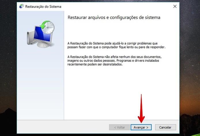 Tela inicial do assistente de restauração do Windows (Foto: Reprodução/Helito Bijora)