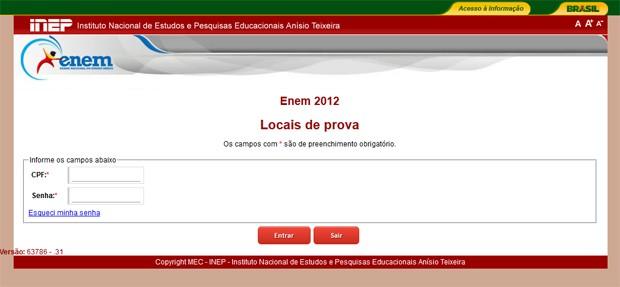 O site do Enem já permite aos candidatos consultarem seus locais de prova (Foto: Reprodução)