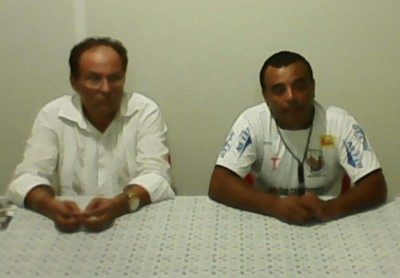 Diretor de futebol Antônio Neres e técnico Nei César (Foto: Cedida/Cléber Soares/Dourados Esportivo)