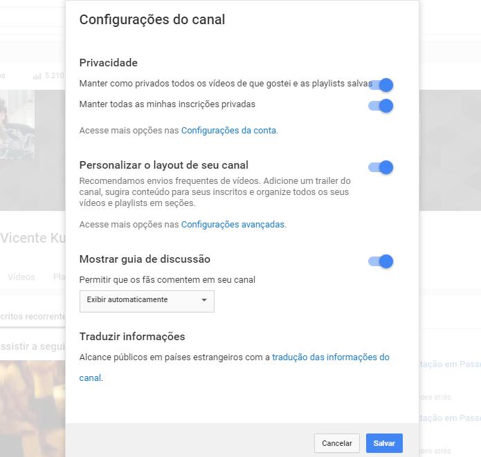 YouTube permite ocultar informações que usuário não deseja revelar a seu público (Foto: Reprodução/João Kurtz)