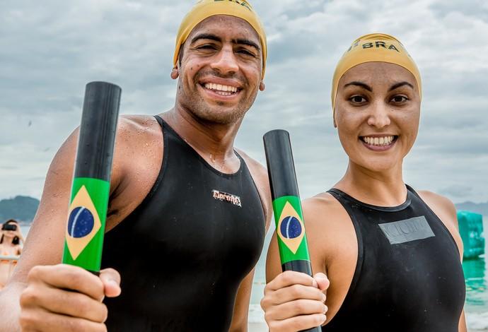 Poliana Okimoto e Allan do Carmo no Rei e Rainha da Praia em Copacabana (Foto: Divulgação Rei e Rainha do Mar)