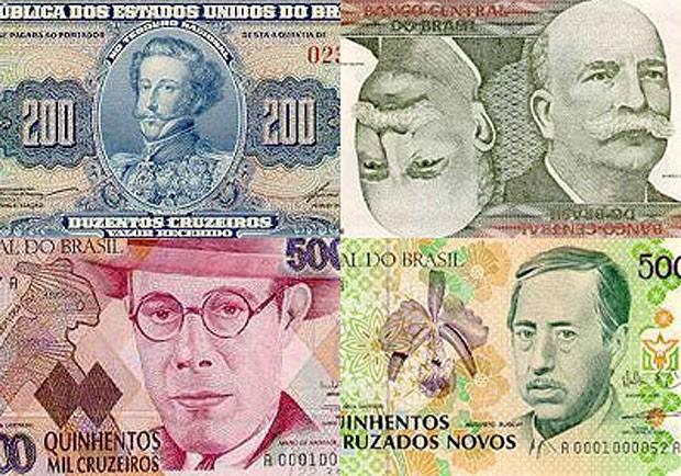 Notas antigas de cruzeiro, cruzado: planos para segurar inflação levaram à troca de moedas (Foto: Reprodução/Banco Central)