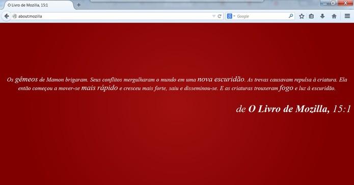 about:mozilla apresenta versículos do Evangelho do Mozilla (Foto: Reprodução/Mozilla)