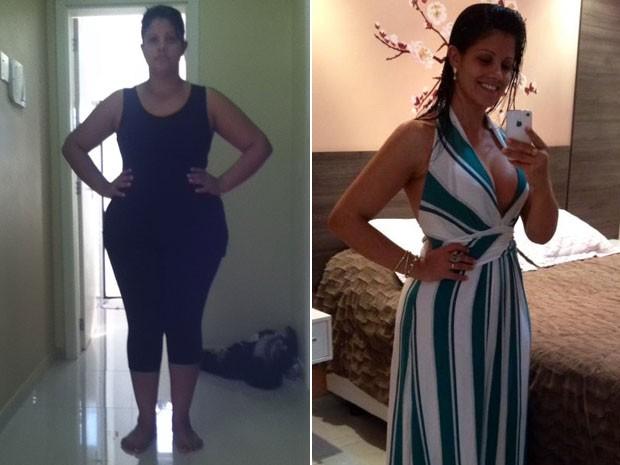 Depois de sofrer do efeito sanfona durante anos, sempre emagrecendo à base de remédios, Catiane Alves aderiu à reeducação alimentar e eliminou 32 kg (Foto: Arquivo pessoal/Catiane Alves)