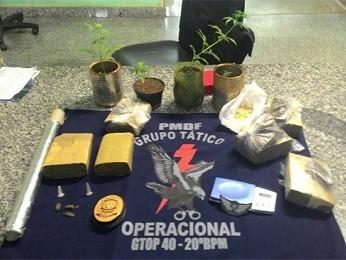 Porções de maconha e plantas apreendidas com suspeitos de tráfico no DF (Foto: Polícia Militar/Divulgação)