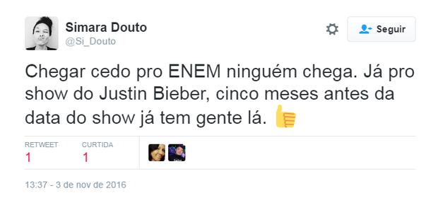 Comentários sobre o acampamento de Justin Bieber (Foto: Reprodução/Twitter)