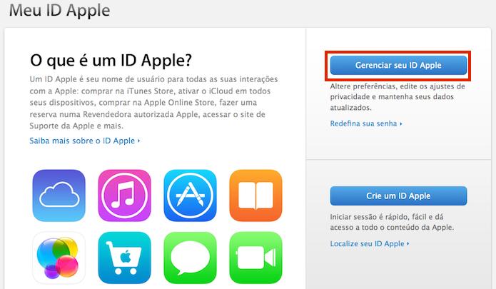 Acessando o site Meu ID Apple (Foto: Reprodução/Edivaldo Brito)