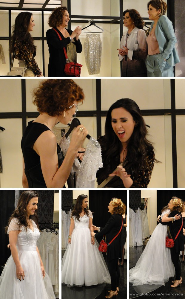 Valdirene escolhe se vestido de noiva (Foto: Amor à Vida/ TV Globo)