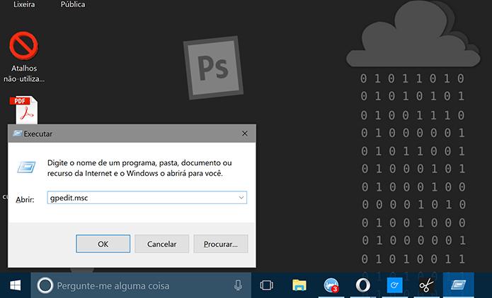 Digite comando gpedit.msc para editar políticas de grupos do Windows 10 (Foto: Reprodução/Elson de Souza)