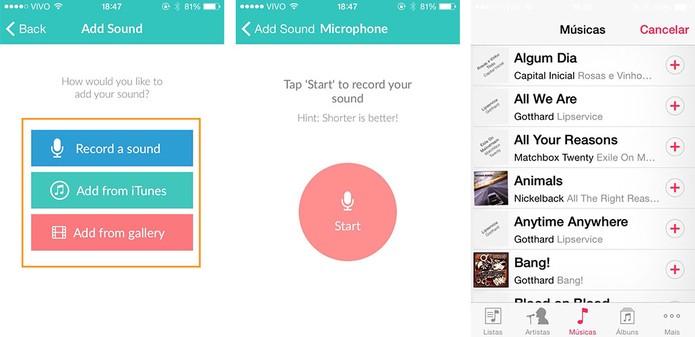 Escolha a origem do som dentre a gravação, iTunes ou galeria (Foto: Reprodução/Barbara Mannara)