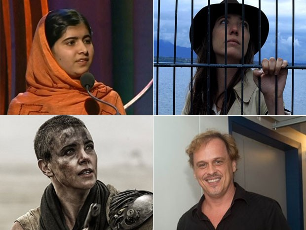 """Da esquerda para a direita, em sentido horário: """"Malala"""", """"Adeus à linguagem"""", """"Mad Max"""" e o diretor de """"Chatô"""", Guilherme Fontes (Foto: Reprodução)"""
