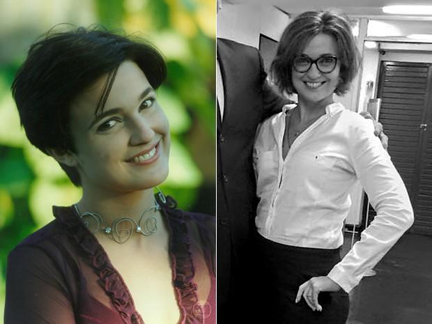 Daniela Pessoa na época de Malhação e hoje em dia, no estágio de direito (Foto: Arquivo Pessoal)