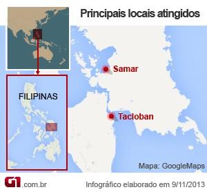 Mapa tufão nas Filipinas (Foto: Editoria de Arte/G1)
